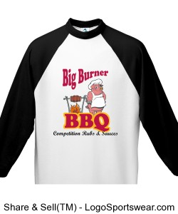 Big Burner BBQ Adult 3/4 Sleeve Shirt Design Zoom